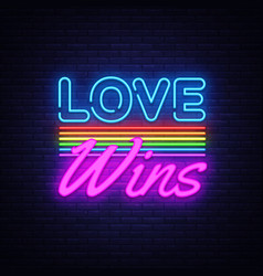 love wins neon text love wins neon sign vector image