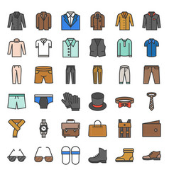 Male clothes and accessories filled outline icon vector