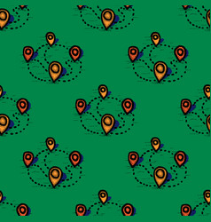 Map geo tag seamless pattern vector