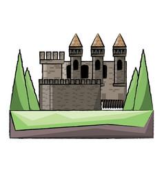 medieval castle icon image vector image
