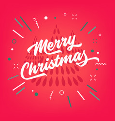 merry christmas calligraphy on red background vector image