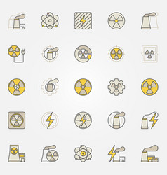 nuclear power colorful icons set vector image