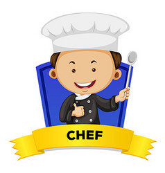 Occupation wordcard with male chef vector