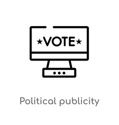 Outline political publicity on monitor screen vector