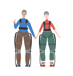 Pair happy healthy old people in exosuits vector