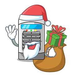 Santa with gift air cooler in cartoon shape vector