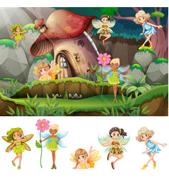 set fairys in scene vector image