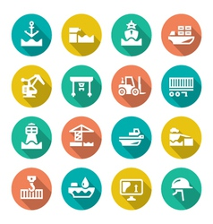 Set flat icons of seaport vector