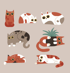 set funny humor cat characters spotted cats vector image
