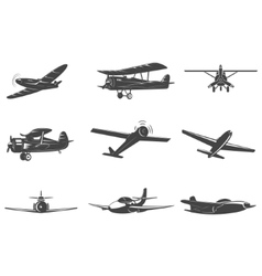 set planes icons isolated on white vector image