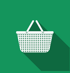 shopping basket icon isolated with long shadow vector image
