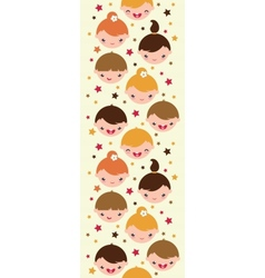 Smiling children vertical seamless pattern vector image
