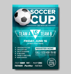 soccer poster football ball design for vector image