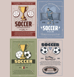 soccer vintage and retro posters vector image