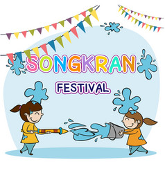 Songkran festival kids playing water background ve vector