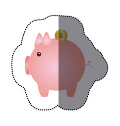 Sticker pink piggy bank with dollar coin vector