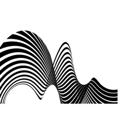 stripe wave background design with black and white vector image
