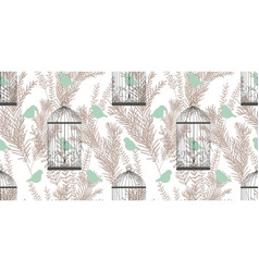 Stylish pattern with birds and cages in victorian vector