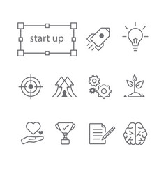 thin line icons set start up vector image