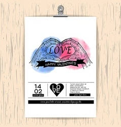 Valentines day card on wood Background vintage vector image