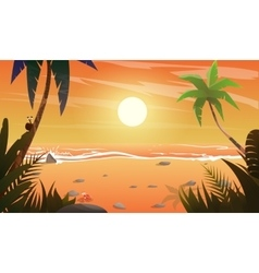 View on sunset at the beach vector