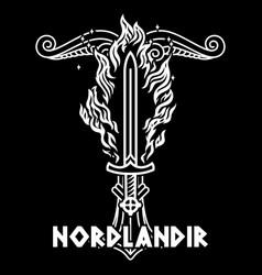 Viking scandinavian design flaming sword vector