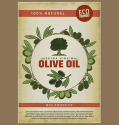 Vintage colored organic natural food poster vector