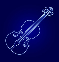Violin from glowing blue neon luminescence lines vector