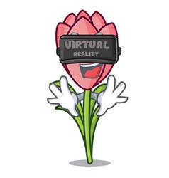 virtual reality crocus flower mascot cartoon vector image