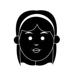 Young woman with short hair and headband icon vector