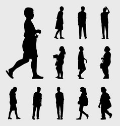 black walk silhouettes set vector image vector image