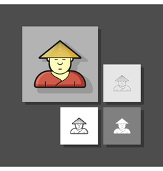 contour icon simpotichny with hipster haircut and vector image vector image