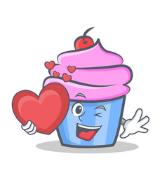 cupcake character cartoon style with heart vector image vector image