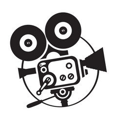 drawing old fashioned movie camera vector image vector image