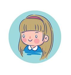 Happy Little Girl in Blue Shirt vector image vector image