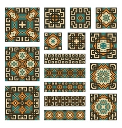 Set collections of geometrical borders and tiles vector image vector image