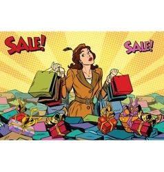 Woman with shopping in a sea of sales vector image