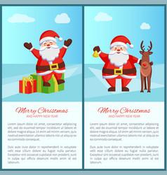 merry christmas santa and deer vector image vector image