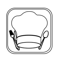 monochrome rounded square with chef hat and vector image