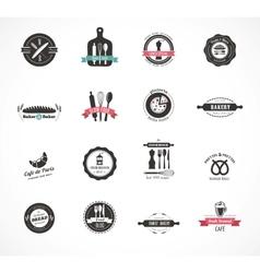 Set of vintage restaurant and food badges labels vector image