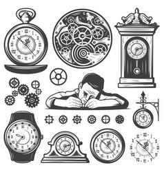 vintage monochrome clocks repair elements set vector image