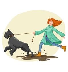 Woman walk run with dog vector image