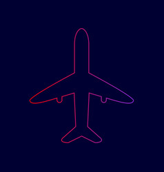 airplane sign line icon with vector image