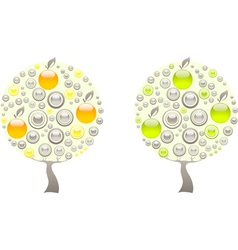 Apple tree made of green and orange gems vector image