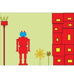 Retro red robot vector image vector image