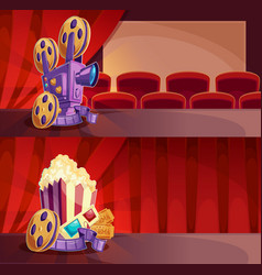 set of cartoon banners with a cinema hall vector image