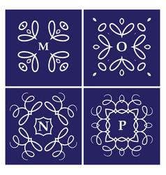 set of four monogram white on a blue background vector image vector image