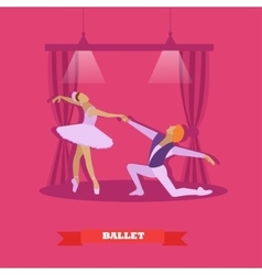 Ballet dancers dance on a stage ballerina and vector