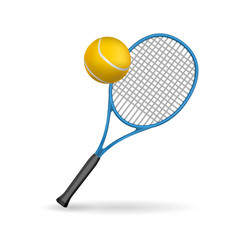 isolated of a tennis racket and ball vector image vector image