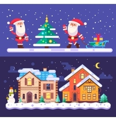 Pretty winter village landscape with snow covered vector image vector image